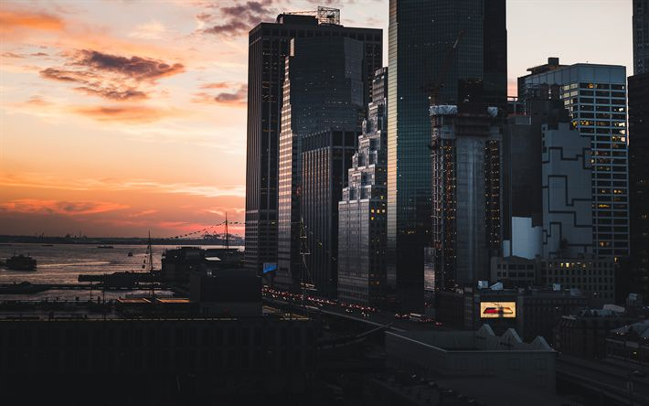 Download wallpapers 4k, Manhattan, NYC, sunset, cityscapes, New York, USA, America