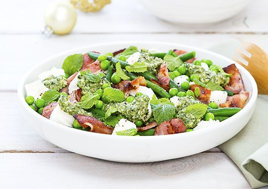 Try this Pea, Bacon and Mozzarella Salad with Mint Pesto this Christmas for a colourful and fresh twist on a side salad.