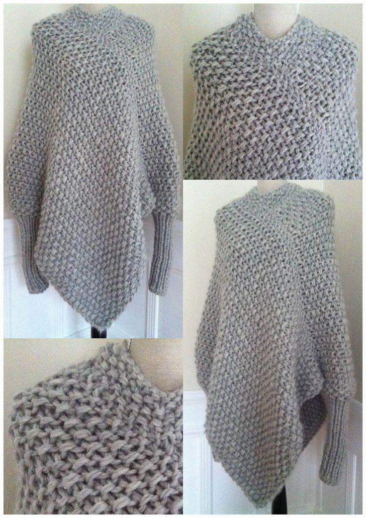 marianne mirabelle: Strikket poncho genser med løs hals og armer