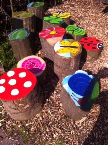 Decorated tree stumps
