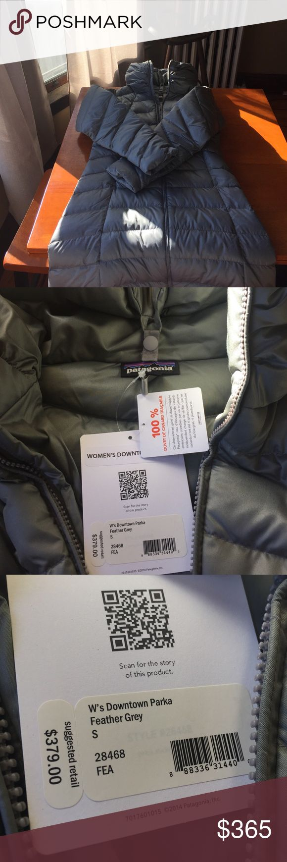 "Grey Patagonia parka Grey women's downtown parka, brand new, never worn, tags attached. This is a long parka, I am 5'4"" and it goes just past my knees. Very warm, down filled jacket perfect for winter! Patagonia Jackets & Coats Puffers"