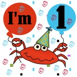 A big red king crab wearing a party hat, blue and red birthday balloons, and confetti is featured on these Crab 1st Birthday T-shirts, mugs, cards, stickers, and more.