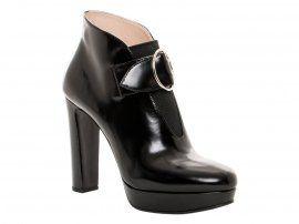Stivaletti alla caviglia Prada in Pelle di vitello lucida nero