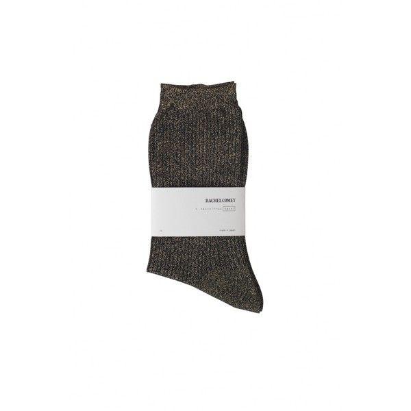 Metallic Crew Sock ❤ liked on Polyvore featuring intimates, hosiery, socks, metallic socks, crew socks, crew cut socks and crew length socks