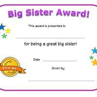 big sister award certificate