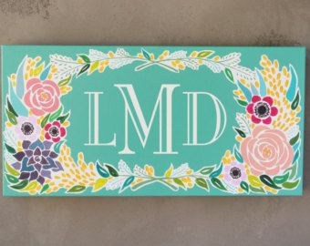 Monogram Canvas Painting - Original Painting Handmade Wall Art 12x24