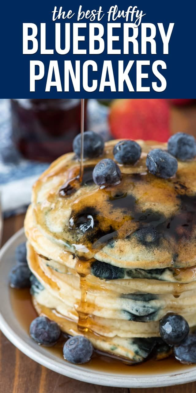 Make Fluffy Blueberry Pancakes for an easy breakfast recipe! These pancakes are super fluffy and soft and filled with blueberries. via Crazy for Crust...