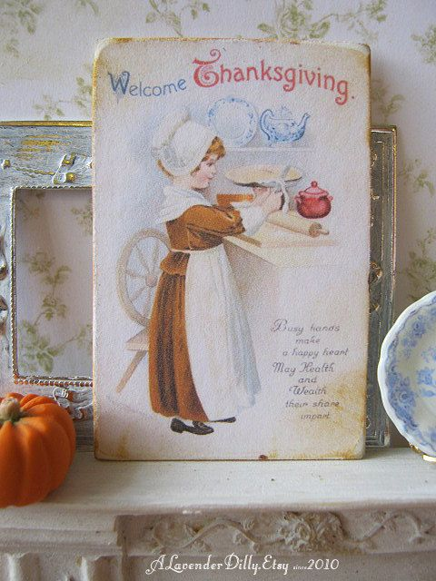 Welcome Thanksgiving Sign/Print for Dollhouse by alavenderdilly, $5.00