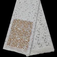 Heißer Verkauf Afrikanisches Stickerei Französisch Spitze Tüll Stoff, 5 Yards/lot Hochwertige Afrikanische spitze Weiße Farbe Indische stoff Design(China (Mainland))