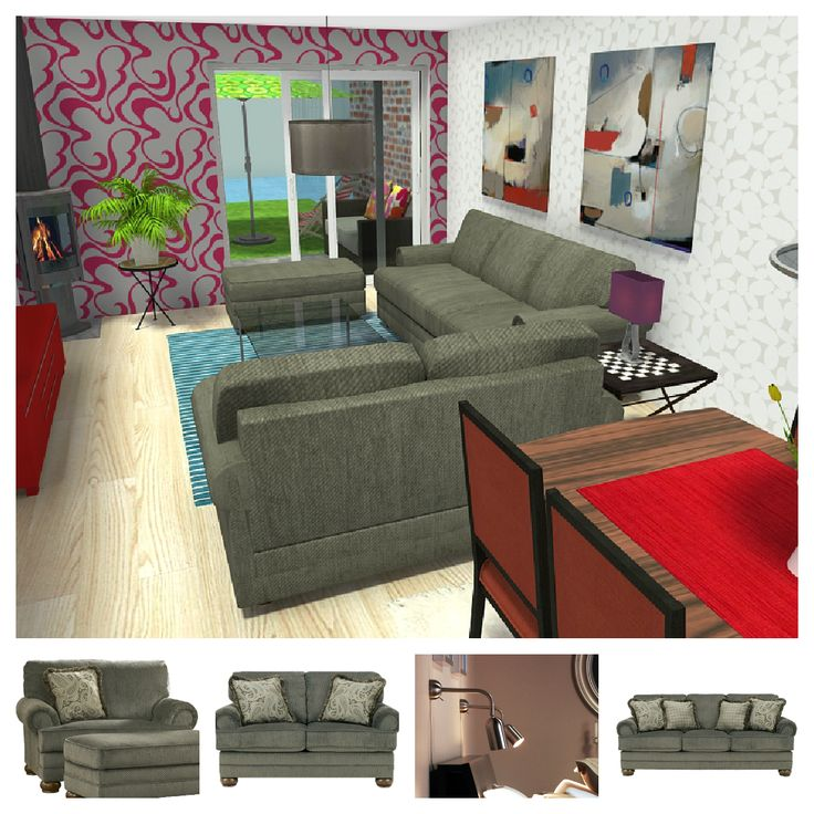 NEW ITEMS -- From Ashley Furniture HomeStore & IKEA USA! What do YOU like best about this 3D floor plan for a great room with fireplace looking onto a patio?     See how these items would look in YOUR home:  http://planner.roomsketcher.com/?ctxt=rs_com    image credit: RoomSketcher Design Team
