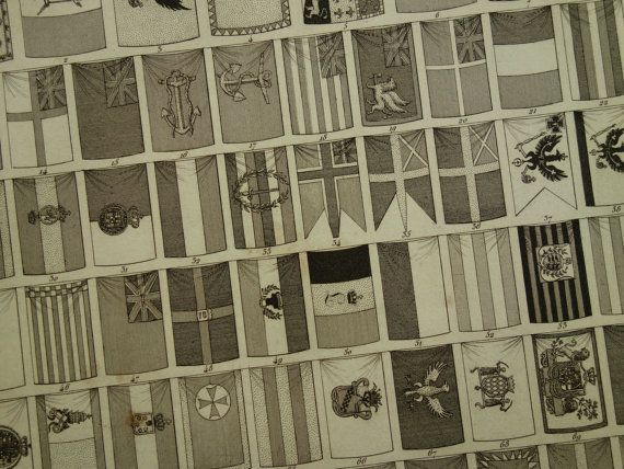 1849 FLAGS old print of naval commercial state by DecorativePrints