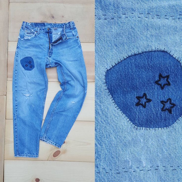 """Vintage Levi's 550 Jeans  /  Vtg OOAK Hand Mended + Embroidered Distressed Stone Wash Tapered Leg Jeans w/ Holes Patches  /  30.5"""" waist by byHEXEREI on Etsy https://www.etsy.com/listing/538915228/vintage-levis-550-jeans-vtg-ooak-hand"""