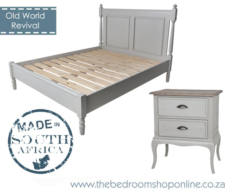 Old World Revival..Sedgefield Bed in Island Grey finish with Anna Bedside Table in our favourite new combo.. Island Grey with solid Ash Havanna top. www.thebedroomshoponline.co.za. #TheBedroomshopOnline #proudlySA