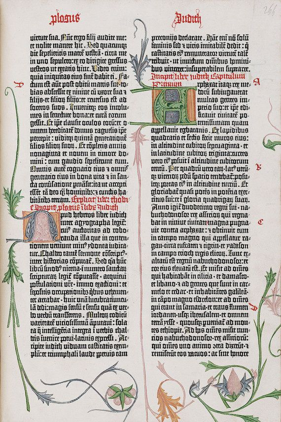 "Gutenberg Bible : ""Leaf from the Book of Judith"" (c1454) - Giclee Fine Art Print"