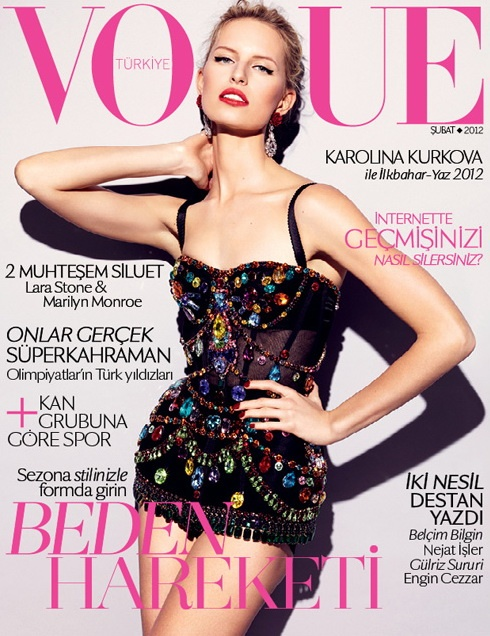 Karolina Kurkova in Dolce & Gabbana covers Vogue Turkey, February 2012