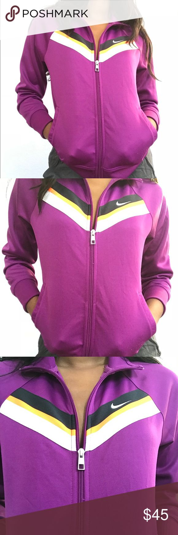 Nike sports jacket Nike running zip up hoodie. In perfect condition and great for winter and spring! Says it's a size large but I'm a size small- extra small and it fits me perfectly. Very thick and warm for wintertime!!   #nike #nikehoodie #nikezipupjacket #athleticapparel #athletic #running   MESSAGE ME WITH ANY QUESTIONS :) Nike Jackets & Coats