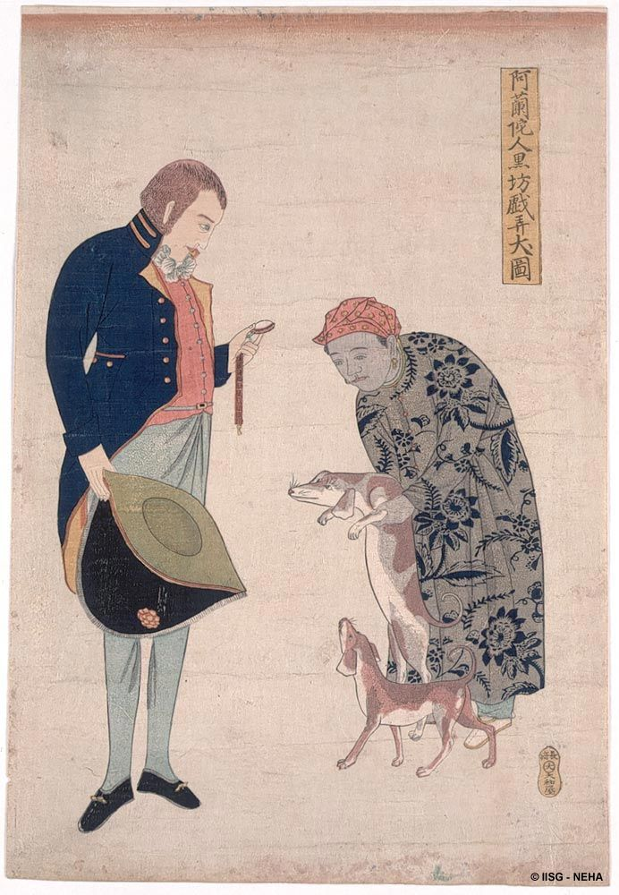 A Dutch official with a Javanese servant, undated Japanese print, Nagasaki.