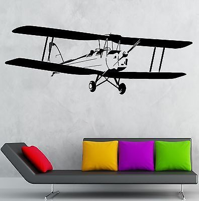 Wall decal airplane aviation kids boys room decor stickers for Aeroplane wall mural