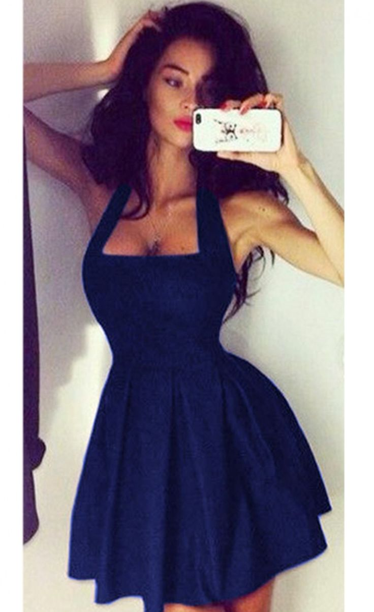 Halter Neck Black Dress - Don't know if that would make the waist look better or worse
