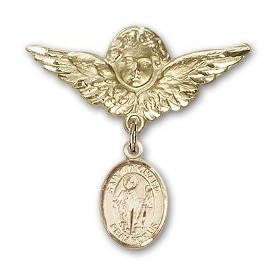 ReligiousObsession's Gold Filled Baby Badge with St. Richard Charm and Angel with Wings Badge Pin >>> You can find more details by visiting the image link.