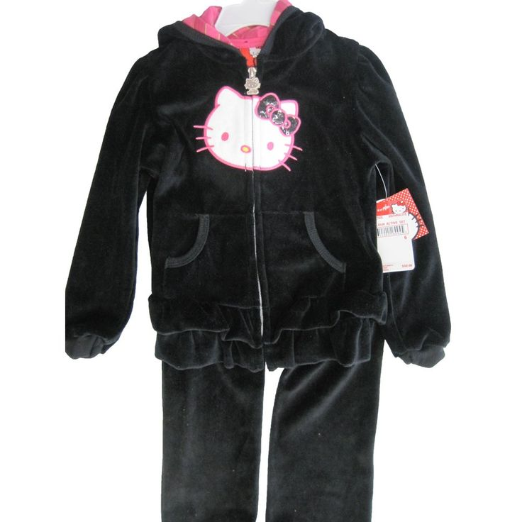 Hello Kitty Little Girls Black Velour Sequin Applique Sweater 2 Pc Pants Set 6X. A cute casual 2 piece set with the famous Hello Kitty face applique and sequined bow. lack velour outfit includes a hooded jacket sweater with zipper closure and front pockets. The matching pants complete the outfit. 60% Cotton - 40% Polyester. All sizes based on US standard sizing.