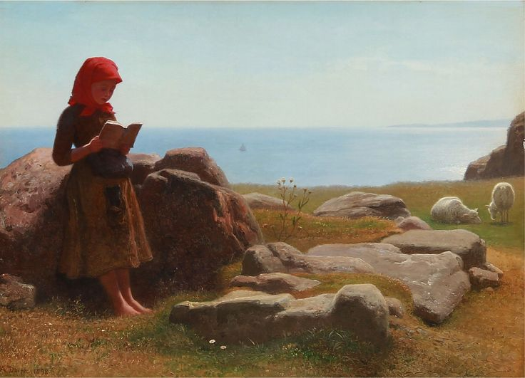 Sommer landskab med en pige, der læser, mens fårene