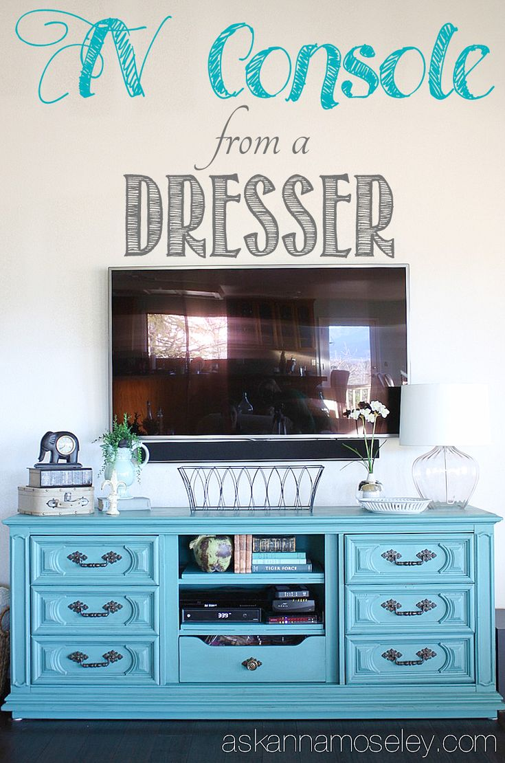 I needed a larger TV console so when I found this beautiful dresser I decided to transform it from a dresser to TV console. It's a stunning piece now and the center of attention in our living room.