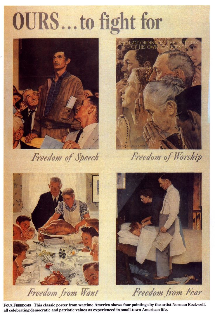 "Famous ""Four Freedoms"" poster by Norman Rockwell that was widely circulated during World War II:"