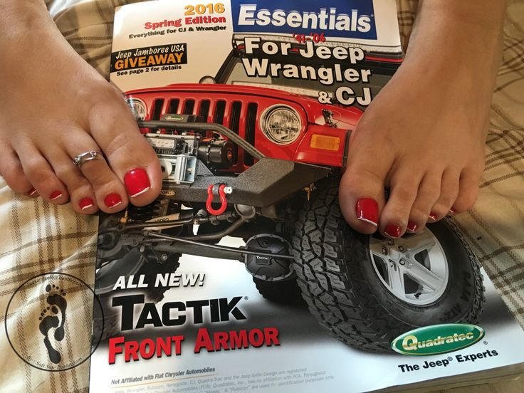 "toesandsole: ""my wife just gave me , my parts catalog in from Quadratec spring edition ! cant wait to go start shopping ! two things that gets my attention , her sexy feet and a parts catalog ! lol!!! "" It counts!! I see a jeep!"