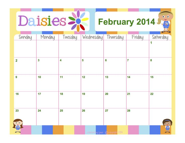 Girl Scouts - Daisies FREE Calendar - Word Format
