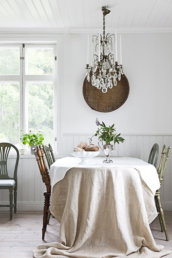 kristallkrona - diff color chairs, table cloth. Other picks in this link are lovely