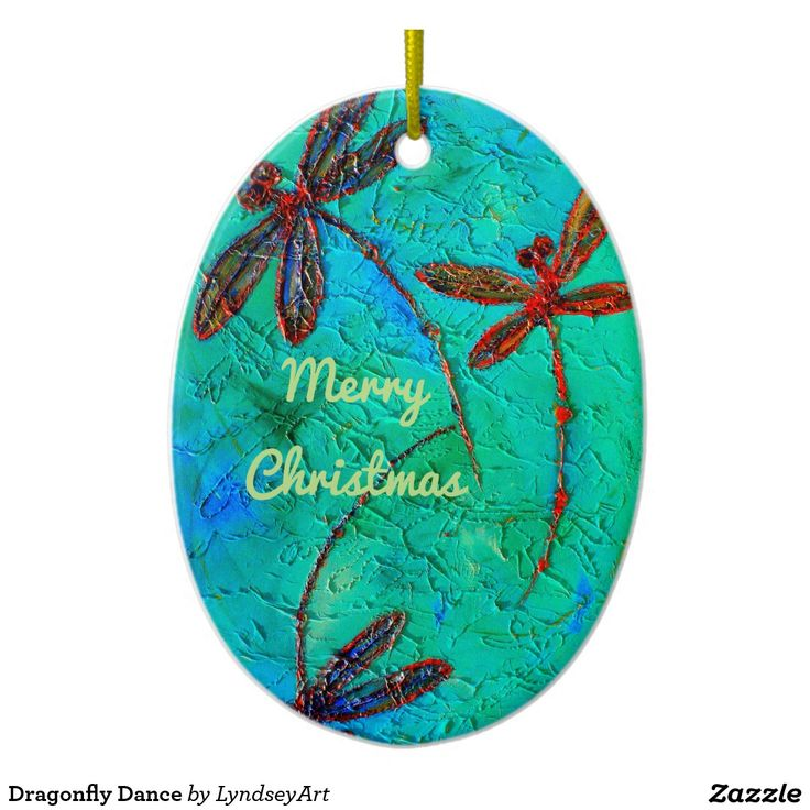 Dragonfly Dance Christmas Decoration - customisable! Gorgeous multi-colored dragonflies on a turquoise green and blue background. From my original dragonfly artwork. LyndseyArt