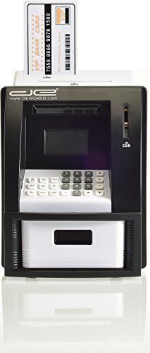 Childrens Mini ATM Machine Safe Deposit Box Savings Bank  Automatic US Coin Counter with Bill Slot  Savings Goal Tracker Calculator Passcode Protected Banking Device for Kids Black *** Click image for more details.