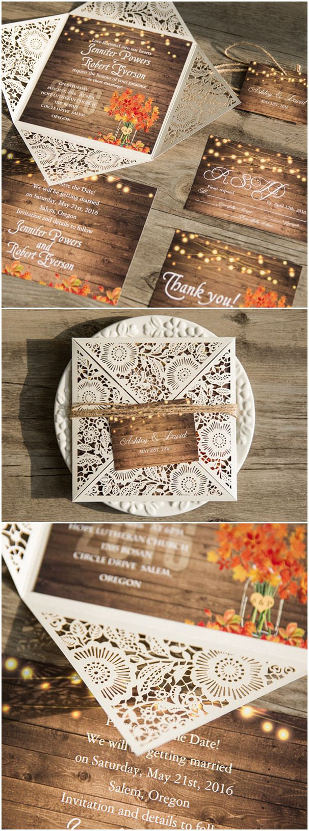 rustic stringlights maple leaf laser cut wedding invitations with twines ewws096 - Country Rustic Wedding Invitations