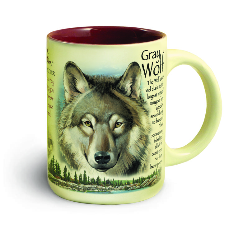Wolf hunters will love drinking their morning coffee out of this 16 oz. Gray Wolf ceramic mug. It has educational information about wolves and a color picture of a gray wolf on one side, another picture of a wolf with an inspirational passage on the other side. Comes with a gift box. Approx. 3.25 in. diameter and 4.5 in. tall.