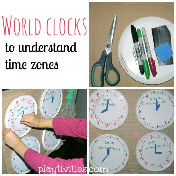 Teaching time zones with diy clocks from around the world - love this idea from @PlayTivities