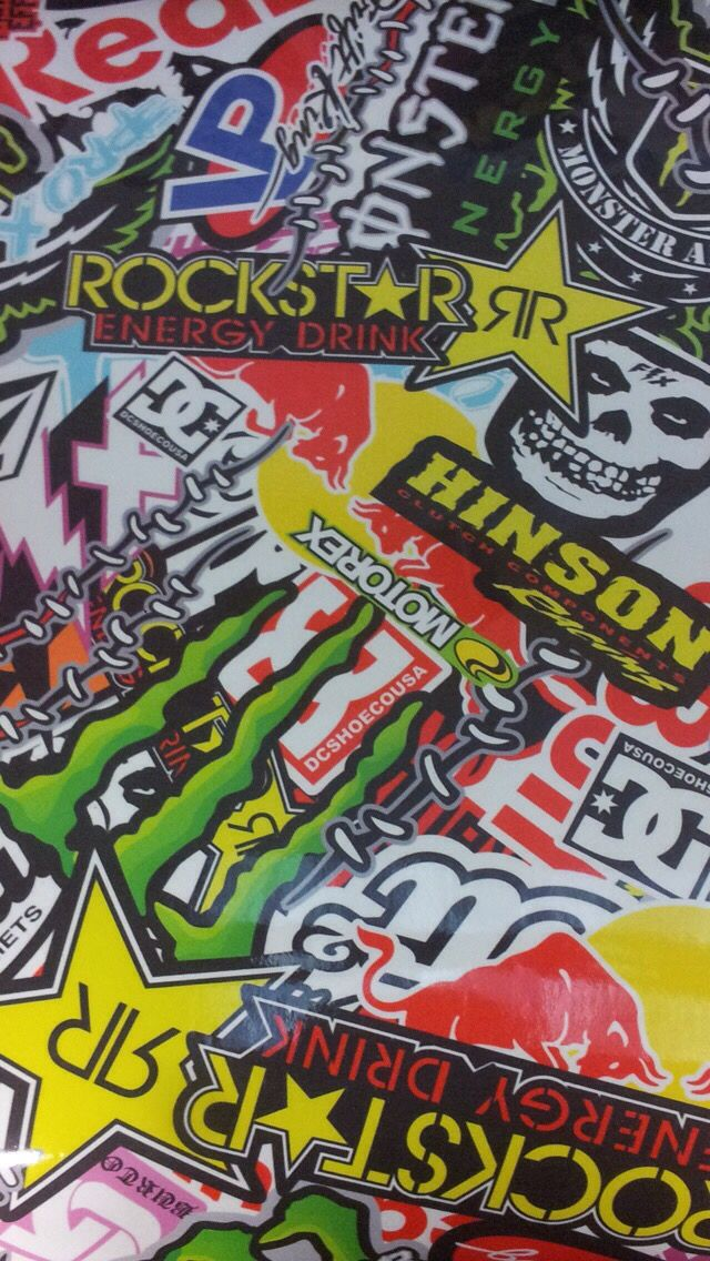 Rockstar monster red bull energy sticker bomb