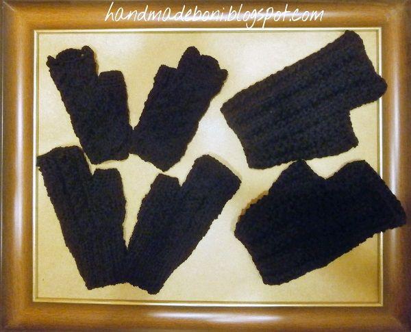 HandmadeBoni: Do siego roku! Czarne mitenki .