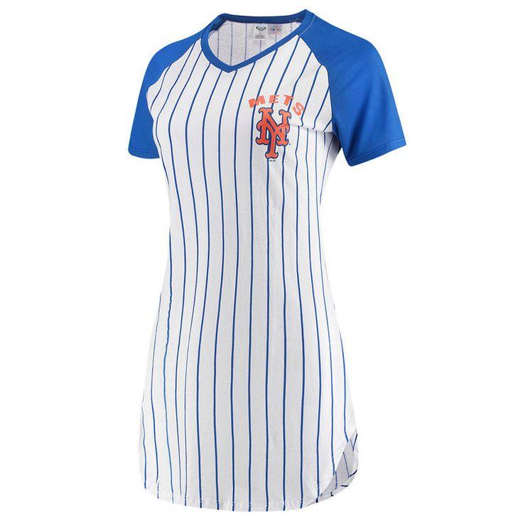 New York Mets Concepts Sport Women's Vigor Pinstripe Nightshirt – White