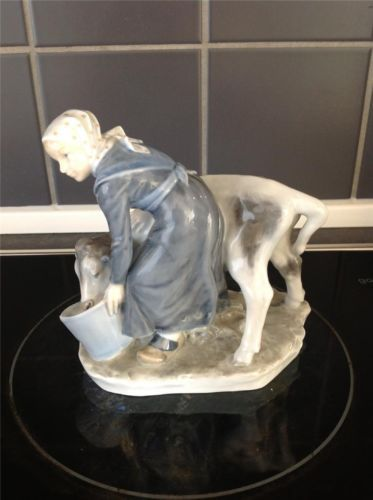 Vintage Royal Copenhagen Figurine 779 Christian Thomsen RC Girl with Calf 1906 | eBay