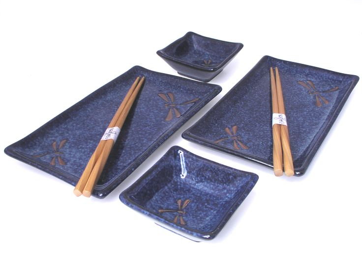 Blue Dragonfly Sushi Set for Two