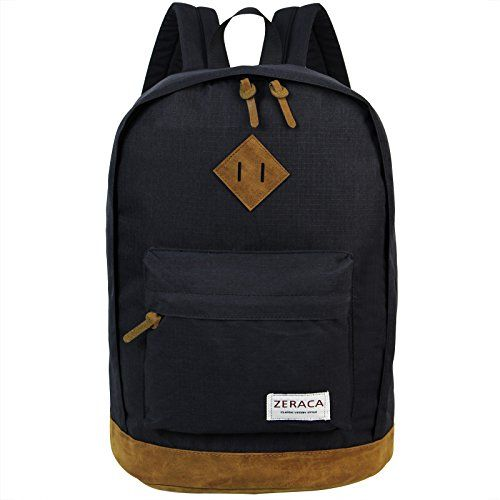 Zeraca Fashion Canvas Waterproof Laptop Backpack for High School College Black #japanese #designer #bags
