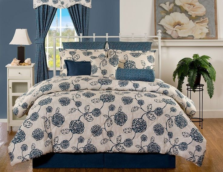 Napoli Modern Light Hearted And Classic With Deep Blue And Light Wheat  Comforters And Bedspreads