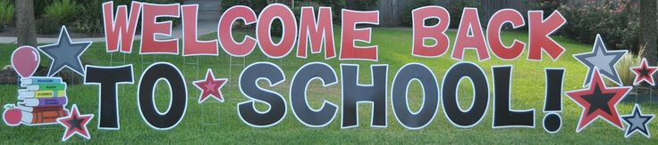 Welcome back your school students with a cool yard card! We can even customize your school logo or mascot into a sign!   #cardmyyard #school #welcome #mascot #books #stars #kids #pto #pta #teachers #principal #backtoschool #class