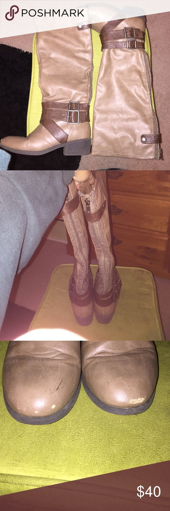Tall tan leather boots In good condition minus the minor scuffs on front toes. (As seen in picture) otherwise still in good condition with lots of life left in them! Shoes Winter & Rain Boots