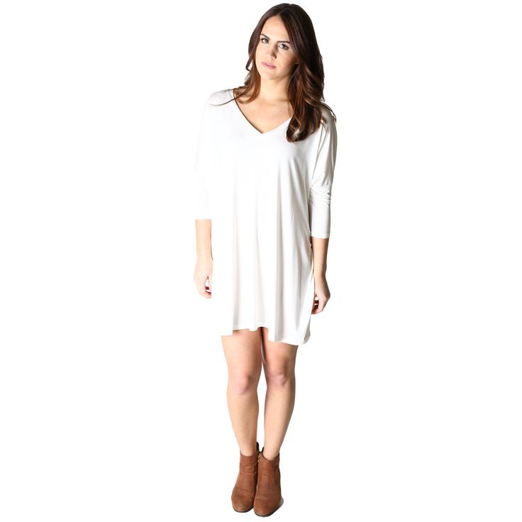 Off White Piko Tunic V-Neck Half Sleeve Dress - Front $21