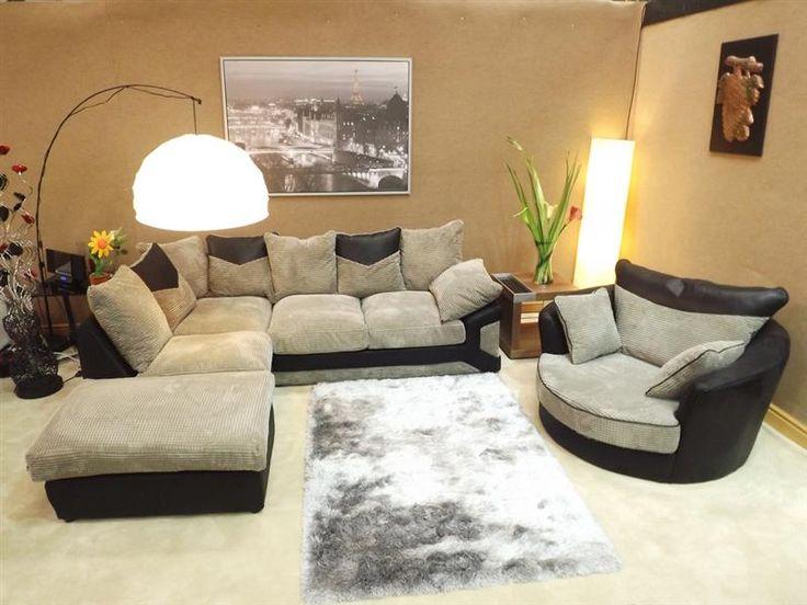 Dino Jumbo Black & Grey Corner Sofa with Matching Swivel Cuddle Chair (Left Hand) - £849.00