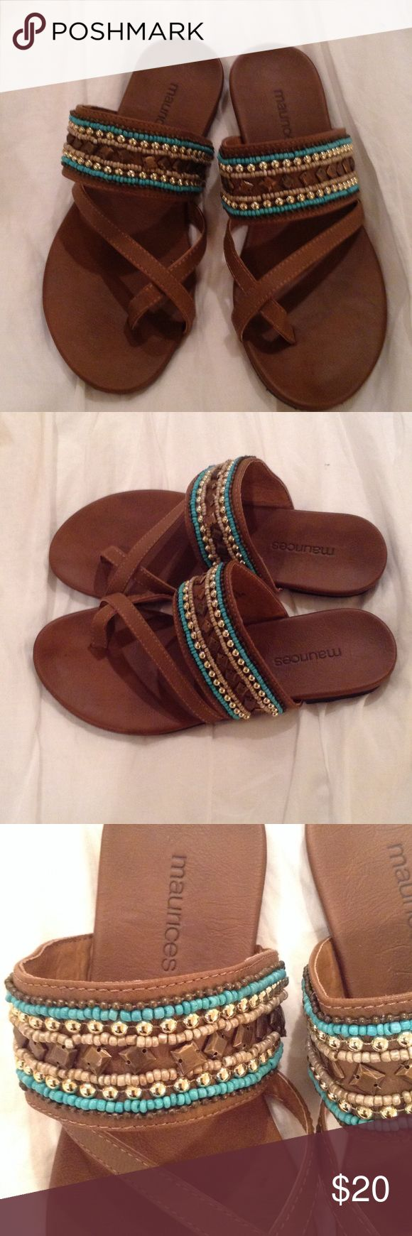 NWOT Maurice's Sandals (Size 7) New Without Tag or size sticker.  I'm pretty sure these are a size 7 as I remember trying them on at the Maurice's store & they fit perfectly.  I love them, but need to downscale my closet.  All items come from a pet/smoke free environment.  Please no Trades or PayPal.  Thank You Maurices Shoes Sandals