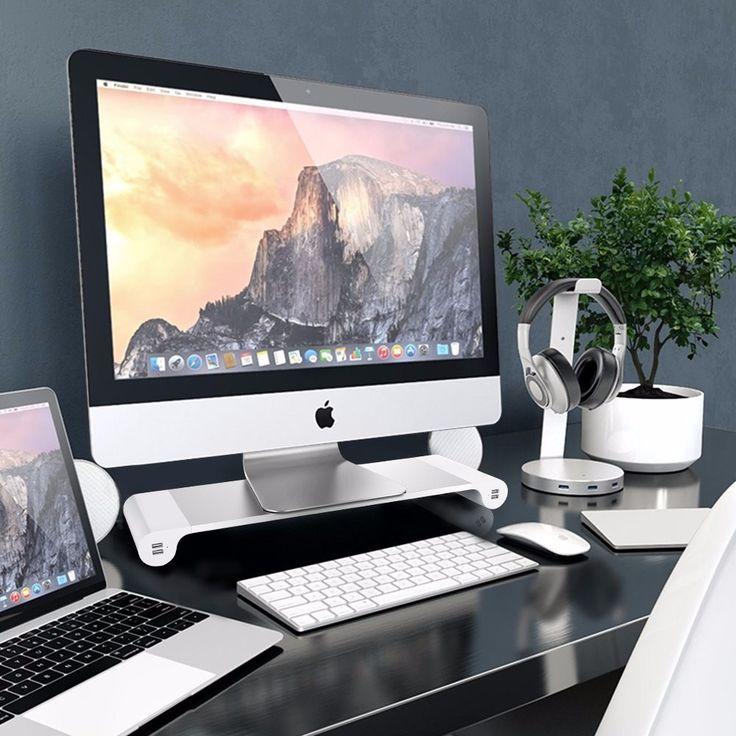 Monitor de computador Riser Poupe espaço Suporte de TV Centro de Entretenimento Armazenamento + 4 Portas Carregador USB para Notebook TV