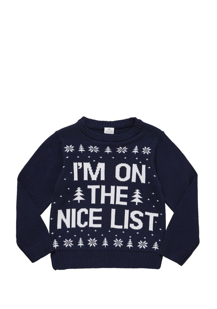 <li><p>This novelty Christmas jumper is a great way to get him into the festive spirit. With a sweet I'm On The Nice List slogan, the knitted jumper is finished with a comfy crew neck and ribbed edging.</p><p>Crew neck</p><p>Long sleeves</p></li>